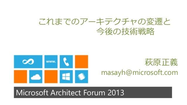 Microsoft Architect Forum 2013これまでのアーキテクチャの変遷と今後の技術戦略萩原正義masayh@microsoft.com