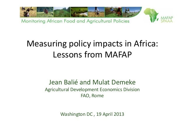 Measuring policy impacts in Africa: Lessons from MAFAP