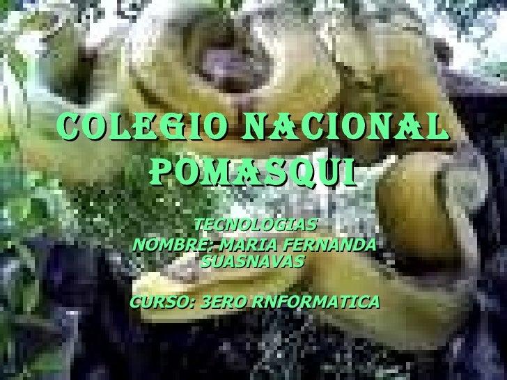 COLEGIO NACIONAL POMASQUI TECNOLOGIAS NOMBRE: MARIA FERNANDA SUASNAVAS  CURSO: 3ERO RNFORMATICA