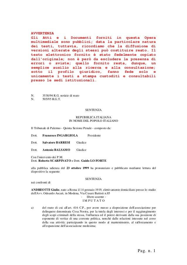 Mafia 3538 1994 rgt 505 1995 andreotti sentenza i grado andreotti