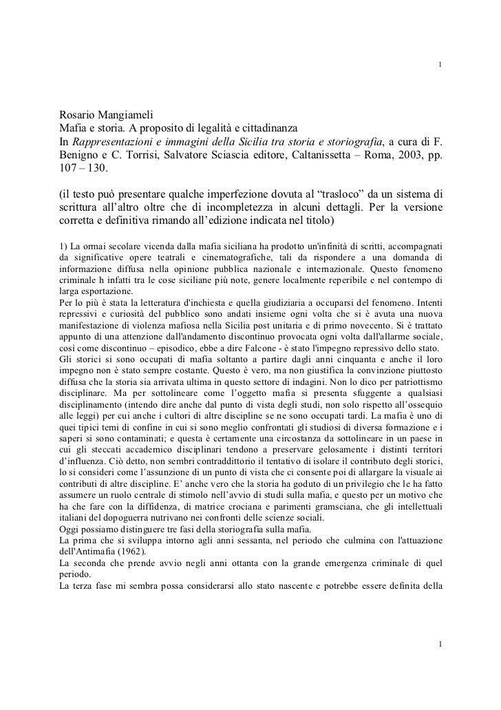 1Rosario MangiameliMafia e storia. A proposito di legalità e cittadinanzaIn Rappresentazioni e immagini della Sicilia tra ...