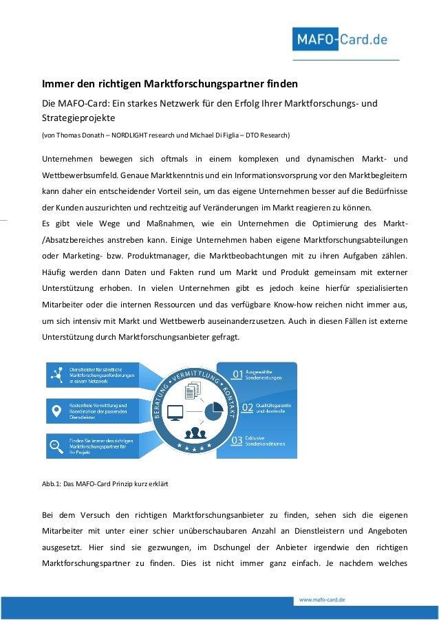 DTO Research · Am Trippelsberg 141 u. 145 · 40589 Düsseldorf Immer den richtigen Marktforschungspartner finden Die MAFO-Ca...