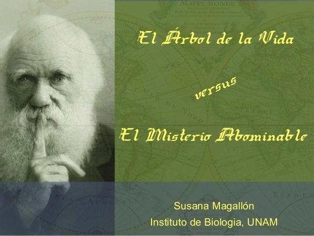 El Árbol de la Vida versus El Misterio Abominable Susana Magallón Instituto de Biologia, UNAM