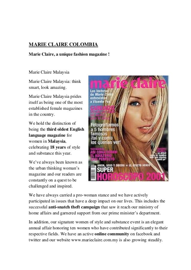 Is marie claire a magazine for middle-aged women?