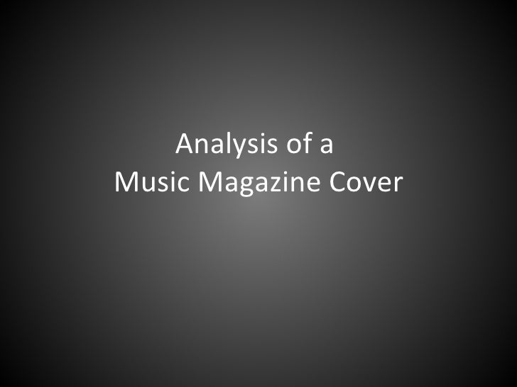 Analysis of a  Music Magazine Cover