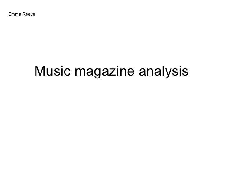 Music magazine analysis  Emma Reeve