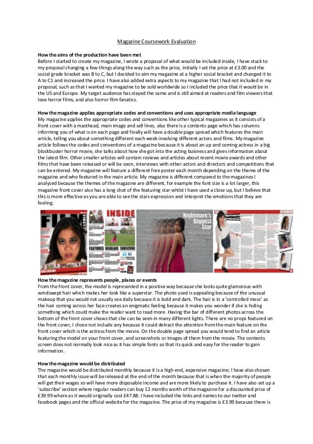 gcse media magazine coursework evaluation