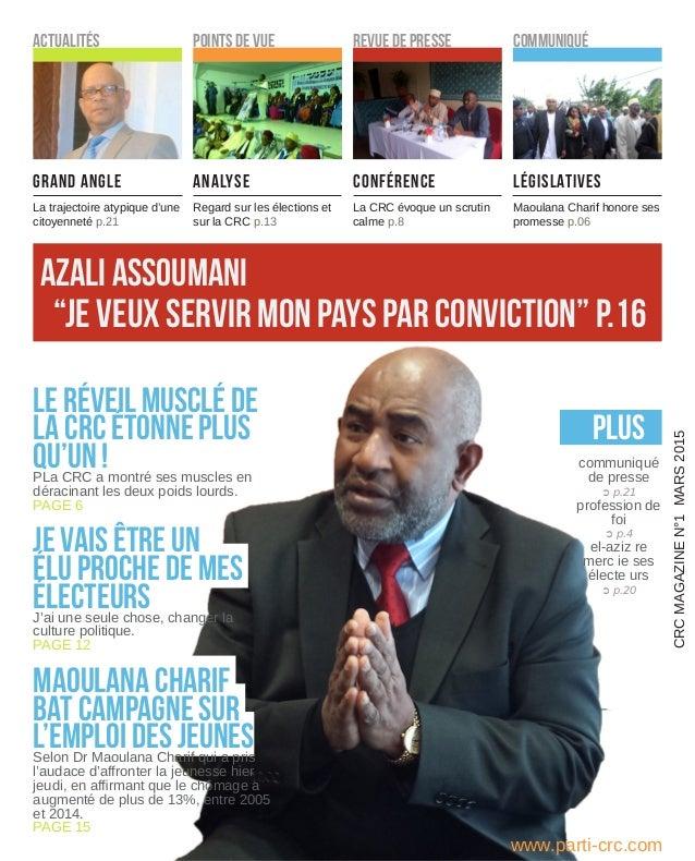 """""""je veux servir mon pays par conviction"""" p.16 www.parti-crc.com PLUS communiqué de presse ➲ p.21 profession de foi ➲ p.4 e..."""