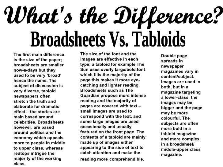 broadsheets vs tabloid Comparing broadsheet and tabloid newspapers 1 jodie leigh holmes 2 'u -turn' is a car manoeuvre that relates to jeremy clarksons job type.