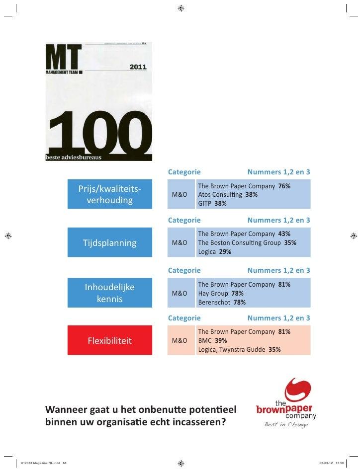 Categorie              Nummers 1,2 en 3                             Prijs/kwaliteits-           The Brown Paper Company 76...