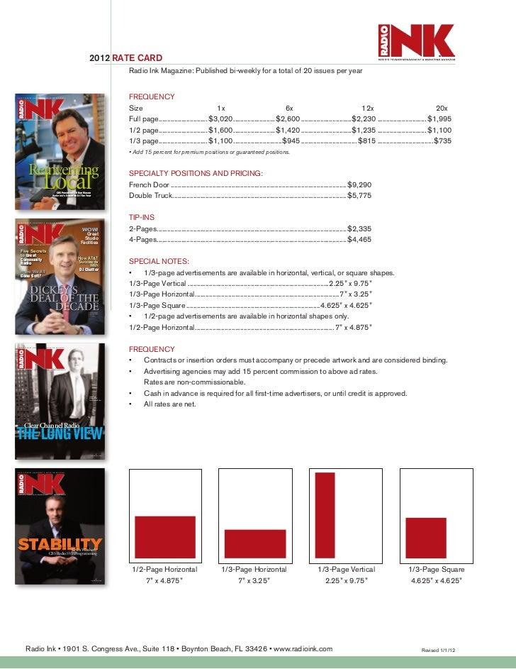 Radio Ink Magazine ratecard