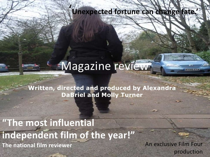 Magazine review<br />'Unexpected fortune can change fate.'<br />Written, directed and produced by Alexandra DaBriel and Mo...