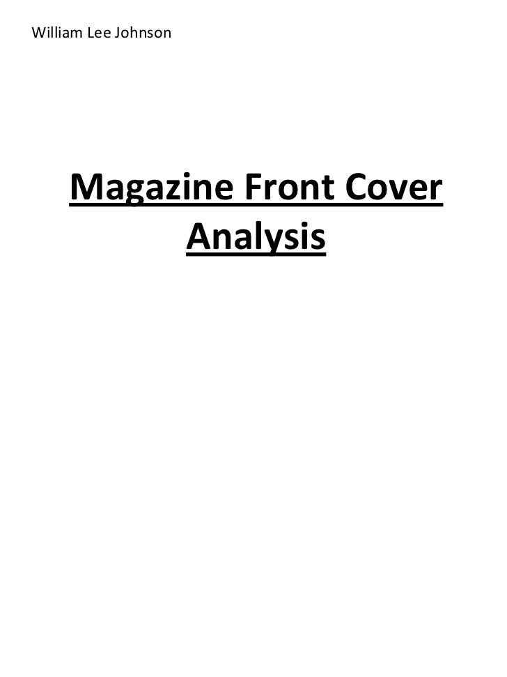William Lee Johnson     Magazine Front Cover          Analysis