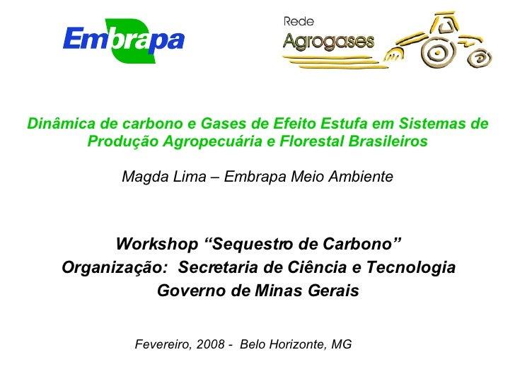 Dinâmica de carbono e Gases de Efeito Estufa em Sistemas de Produção Agropecuária e Florestal Brasileiros Magda Lima – Emb...