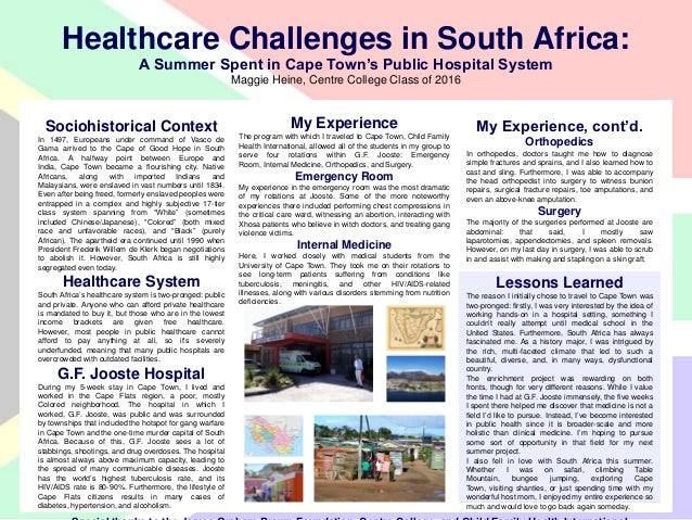 Healthcare Challenges in South Africa:A Summer Spent in Cape Town's Public Hospital System by  Maggie Heine