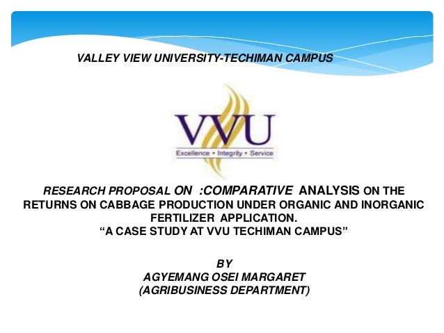 VALLEY VIEW UNIVERSITY-TECHIMAN CAMPUS  RESEARCH PROPOSAL ON :COMPARATIVE ANALYSIS ON THE RETURNS ON CABBAGE PRODUCTION UN...