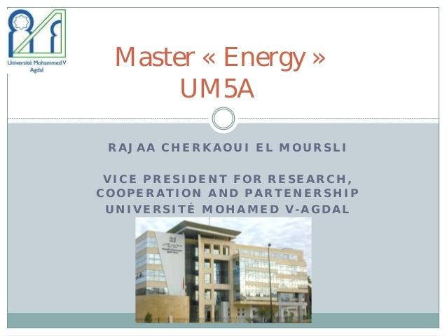 Maghrenov workshop on capacity building EU: Master energy UM5A, by Rajaa Cherkaoui El Moursli
