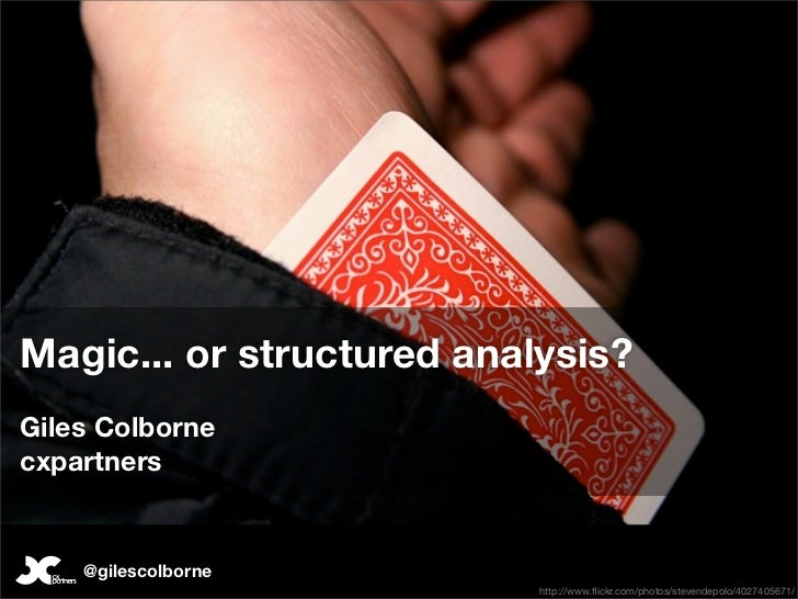 Field Studies: Magic or structured analysis? Giles Colborne