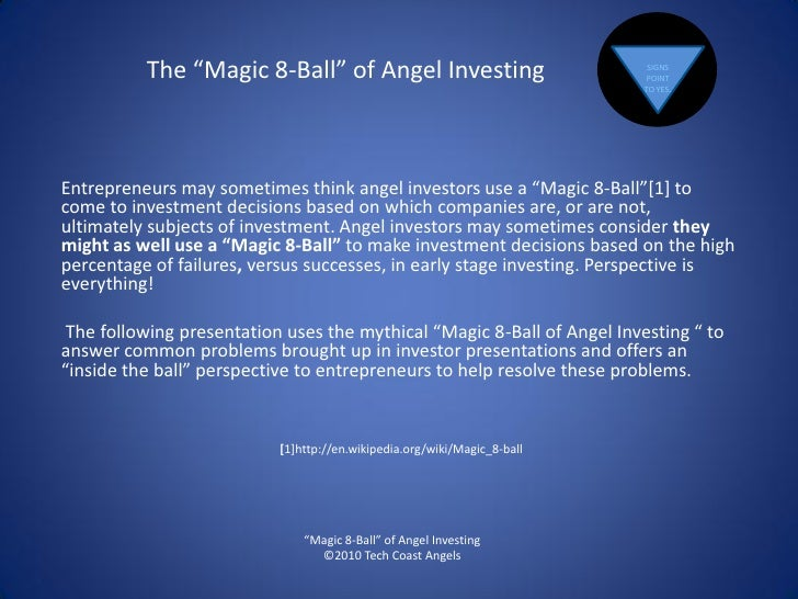 """The """"Magic 8-Ball"""" of Angel Investing                            SIGNS                                                    ..."""