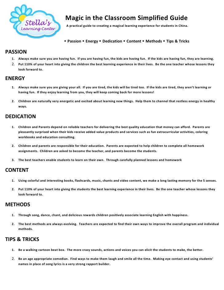 Magic in the classroom handbook