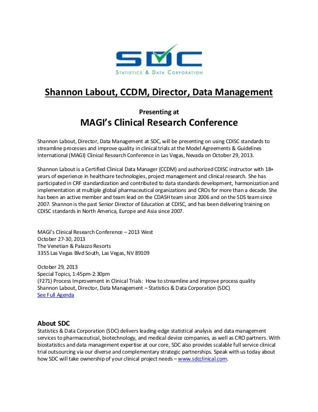 Shannon Labout, CCDM, Director, Data Management Presenting at  MAGI's Clinical Research Conference Shannon Labout, Directo...
