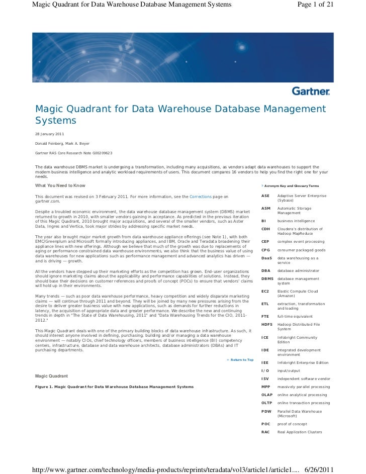 Magic Quadrant for Data Warehouse Database Management Systems                                                             ...