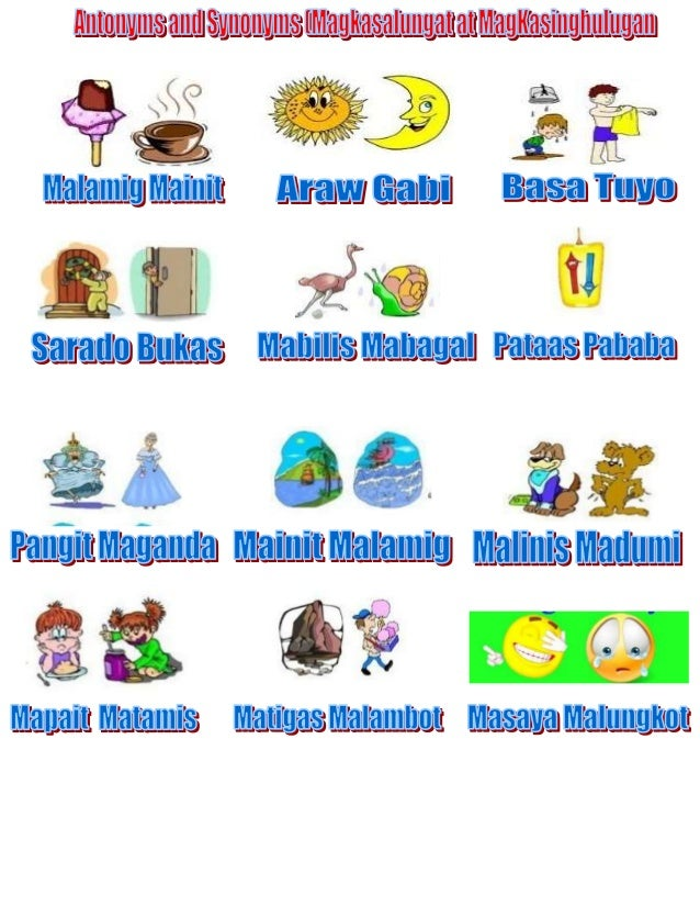Synonyms Antonyms Magkasinhulugan At Magkasalungat on Examples Of A Synonym