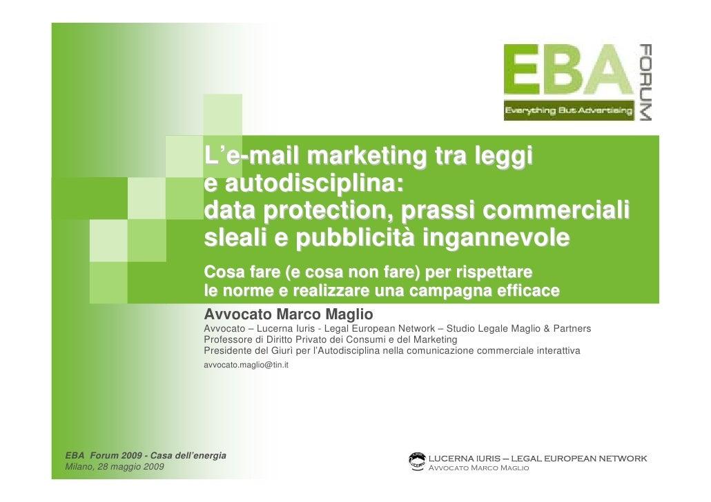L'e-mail marketing tra leggi                              e autodisciplina:                              data protection, ...