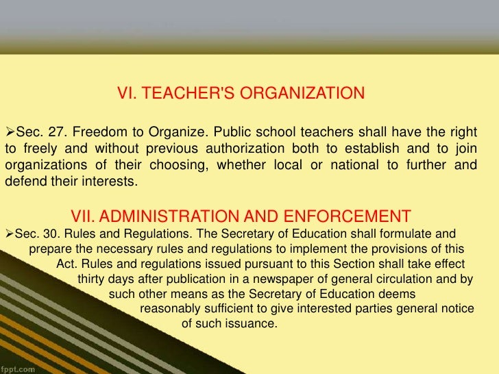the magna carta for public school teachers essay No person shall make any deduction whatsoever from thesalaries of teachers except under specific authority of law authorizingsuch deductions: provided, however, that upon writtenauthority executed by the teacher concerned, (1) lawful dues and feesowing to the philippine public school teachers association, and (2)premiums properly due on insurance policies, shall be considereddeductible.