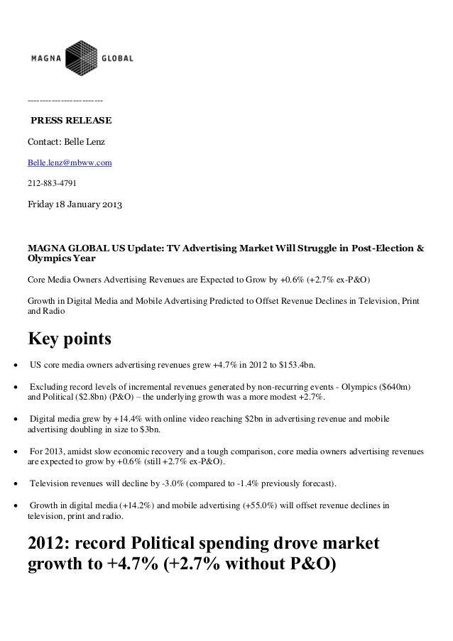 Magna Global: US Update Jan 2013