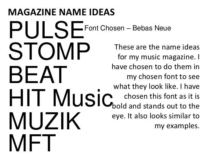 Magazine name ideas? PLEASE HELP?