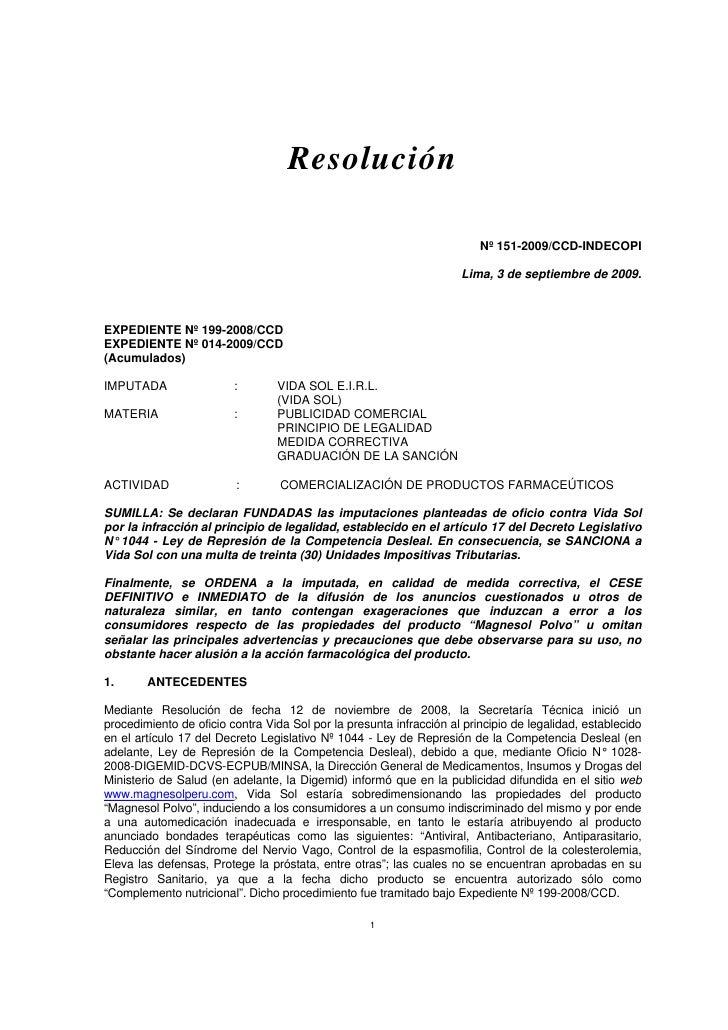 Resolución                                                                           Nº 151-2009/CCD-INDECOPI             ...
