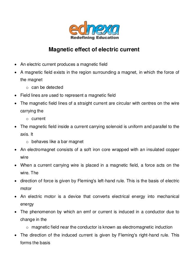 Magnetic Effect of Electric Current Notes - JEE Main 2015