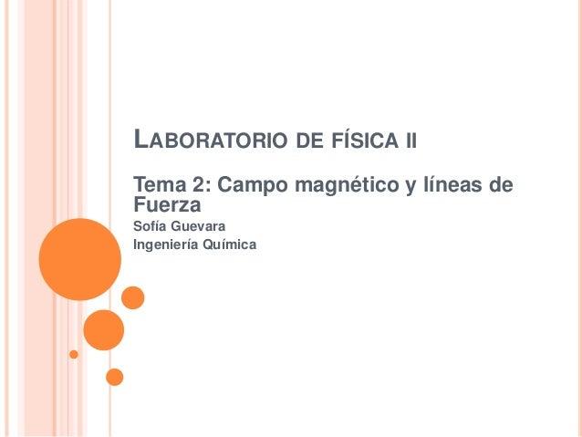 LABORATORIO DE FÍSICA II Tema 2: Campo magnético y líneas de Fuerza Sofía Guevara Ingeniería Química