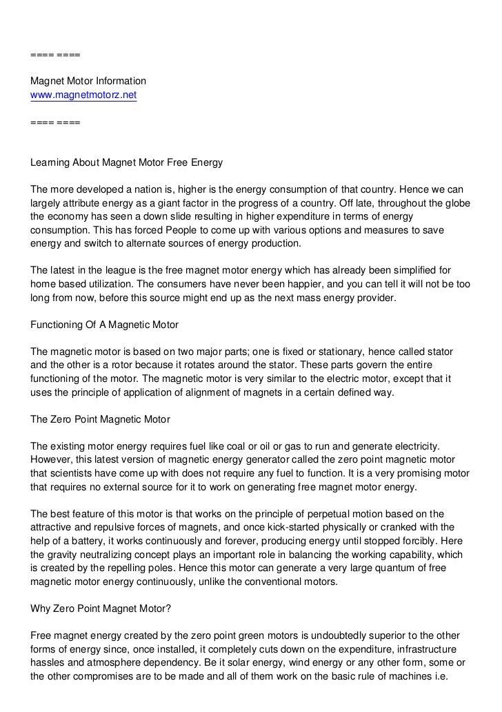 ==== ====Magnet Motor Informationwww.magnetmotorz.net==== ====Learning About Magnet Motor Free EnergyThe more developed a ...
