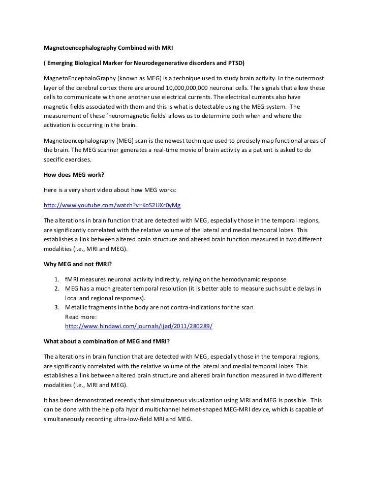 Magnetoencephalography Combined with MRI( Emerging Biological Marker for Neurodegenerative disorders and PTSD)MagnetoEncep...