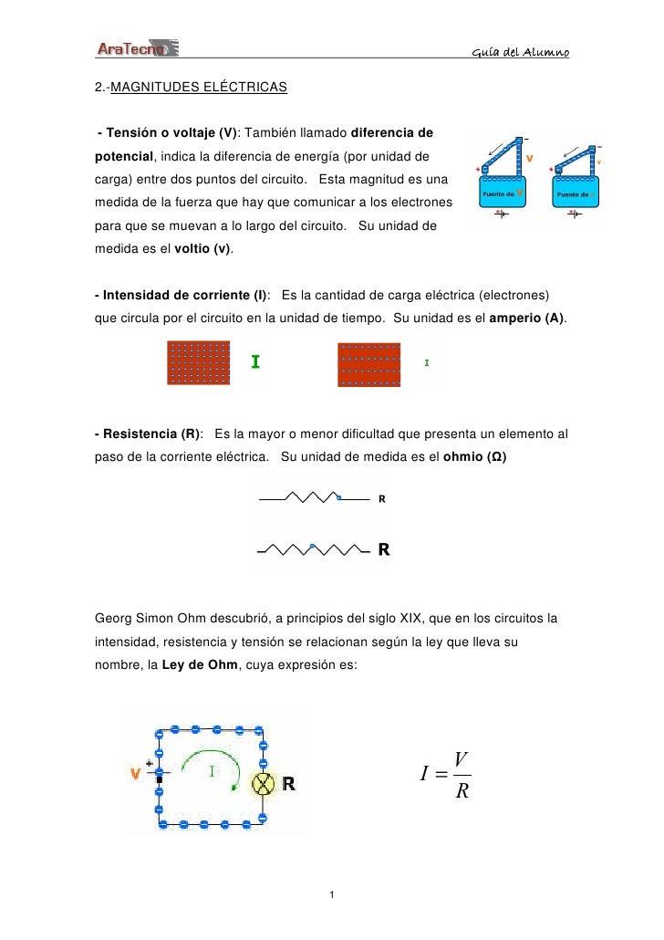 Guía del Alumno  2.-MAGNITUDES ELÉCTRICAS   - Tensión o voltaje (V): También llamado diferencia de potencial, indica la di...