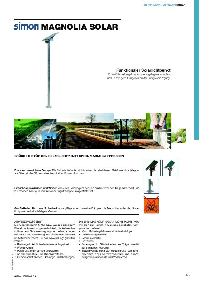 LICHTPUNKTE UND TRÄGER SOLAR  MAGNOLIA SOLAR  Funktionaler Solarlichtpunkt Für natürliche Umgebungen wie abgelegene Wander...