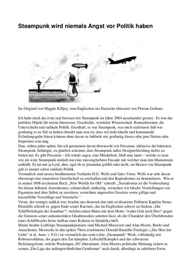 Magpie killjoy - steampunk wird niemals angst vor politik haben