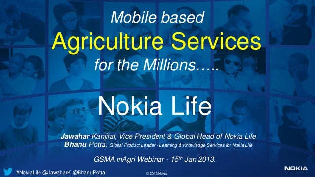 Mobile based            Agriculture Services                            for the Millions…..                              N...