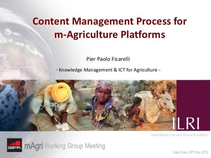 Content Management Process for    m-Agriculture Platforms                  Pier Paolo Ficarelli     - Knowledge Management...