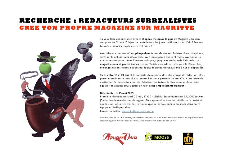 RECHERCHE : REDACTEURS SURREALISTES CREE TON PROPRE MAGAZINE SUR MAGRITTE                                    Tuveuxfair...