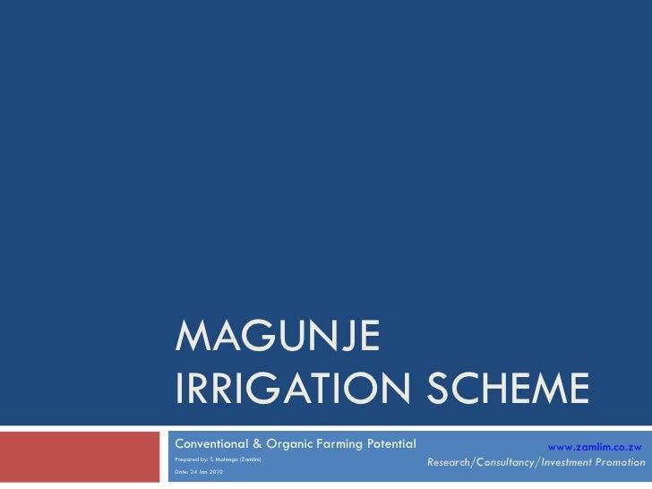 MAGUNJE IRRIGATION SCHEME Conventional & Organic Farming Potential Prepared by: T. Matenga (Zamlim) Date: 24 Jan 2010 www....