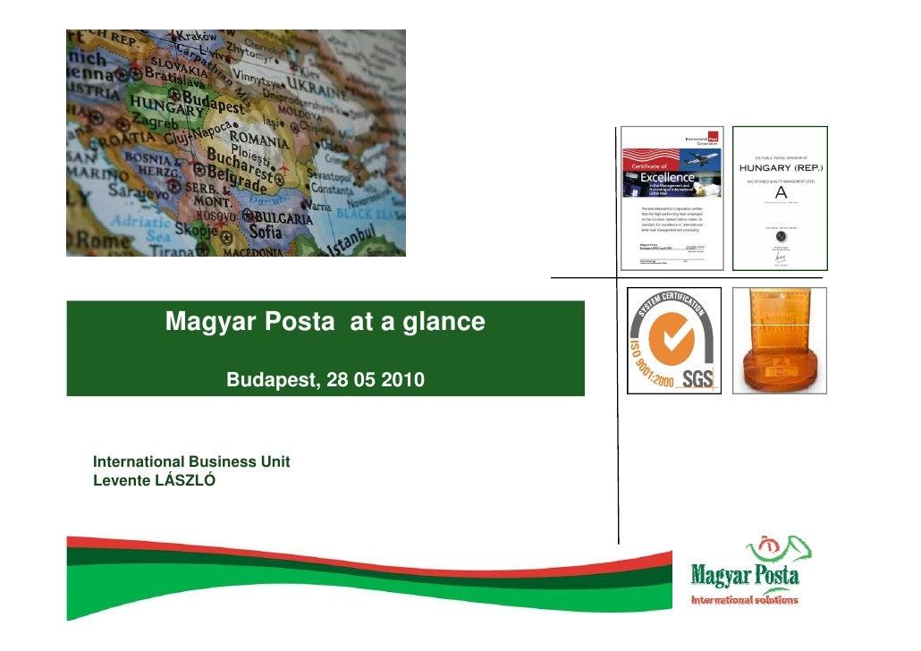 Magyar Posta at a glance, 2010