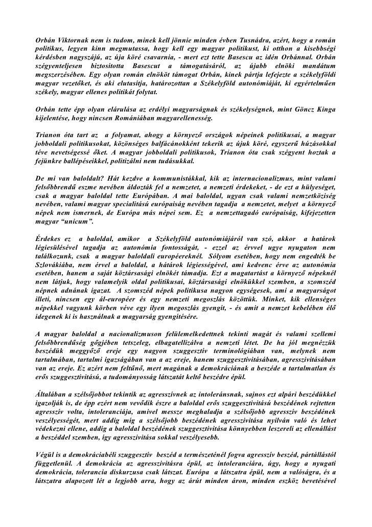 Magyar sorskérdések - Orbán Viktort az úja köré csavarta Basescu