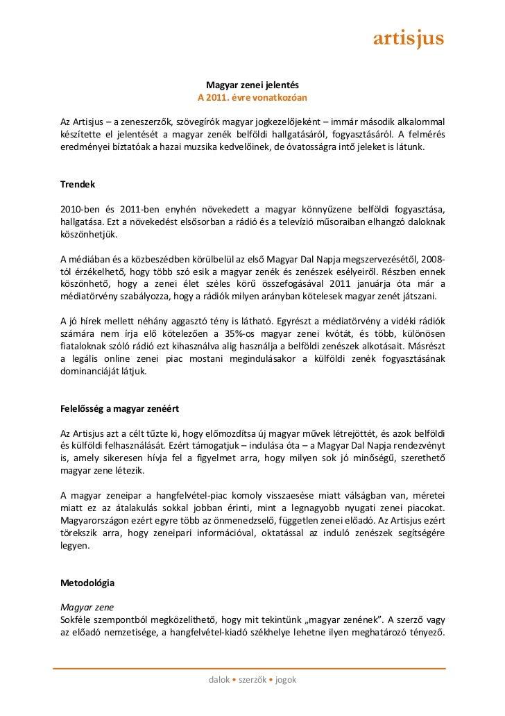 artisjus                                   Magyar zenei jelentés                                 A 2011. évre vonatkozóanA...