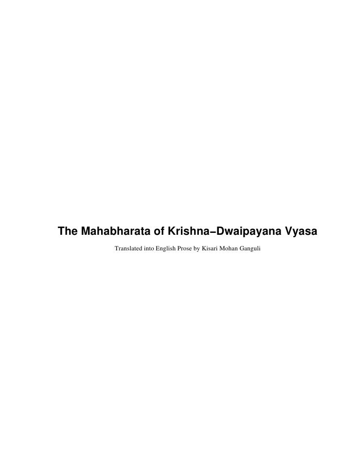 Mahabharata Of Krishna   Dwaipayana Vyasa   Complete   Translated By Kisari Mohan Ganguly   Amazon $120!