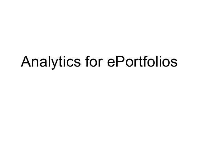 Web Analytics for your ePortfolio