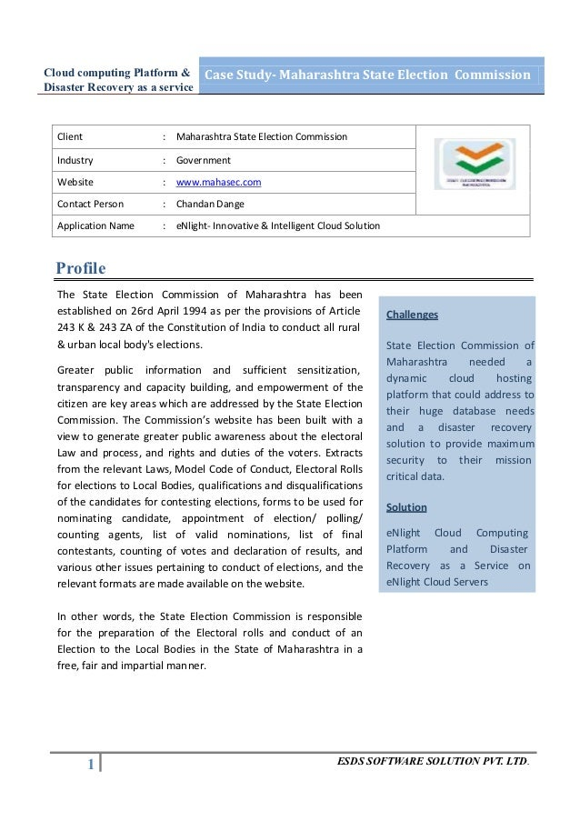 Cloud computing Platform & Case Study- Maharashtra State Election CommissionDisaster Recovery as a service  Client        ...