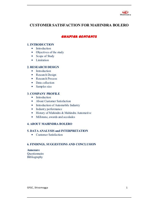 CUSTOMER SATISFACTION FOR MAHINDRA BOLERO                           CHAPTER CONTENTS1. INTRODUCTION    • Introduction    •...